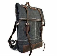 Real Leather Canvas Travel School Camping Backpack by shuiku