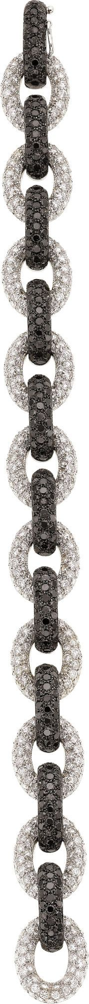 Black and White Diamond, White Gold Bracelet -  by Eli Frei