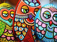 Pendentif hibou Pierre de peintes à la main par ISassiDellAdriatico