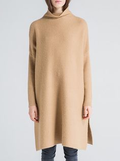 Shop Sweater Dresses - Camel Cashmere Long Sleeve Sweater Dress online. Discover unique designers fashion at StyleWe.com.