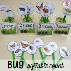 Bug Centers and Activities Bug syllable count! Bug themed activities and centers for preschool, and kindergarten (freebies too)! Perfect for spring, summer, or fall! Kindergarten Freebies, Kindergarten Lesson Plans, Preschool Lessons, Kindergarten Activities, Syllables Kindergarten, April Preschool, Preschool Garden, Preschool Crafts, Bug Crafts