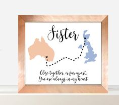 Across The Miles Sister Love Gift For Her Christmas Gift Ideas Personalised Gift For Her Digital Print Ireland Map Australia Map