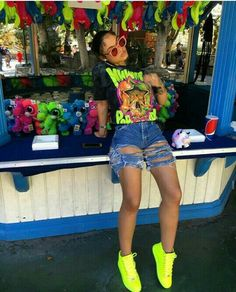 india love, neon yellow sneakers, and blue ripped denim shorts image - Dope Outfits, Swag Outfits, Trendy Outfits, Summer Outfits, Girl Outfits, Fashion Outfits, Swag Fashion, Hipster Outfits, Moda Fashion
