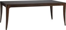"""Cheval Dining Table - Baker The Bill Sofield Collection  Width: 78 inches Depth: 44 inches Height: 29.5 inches More detailed dimensions  PRODUCT OPTIONS AND FEATURES -Walnut solids and Bubinga veneers -Includes two 22"""" leaves -Extends to 122"""" with both leaves"""