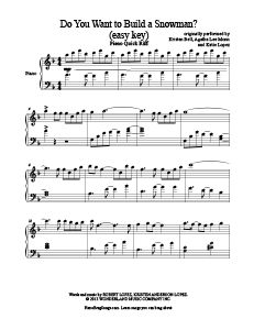 Do You Want to Build a Snowman - Frozen - free easy piano sheet music - place to find pop sheet music