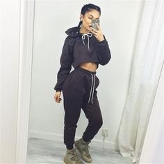 2017 new fashion women casual spring autumn cropped tops pullover hooded sweatshirts and pants two pieces sets suits tracksuits