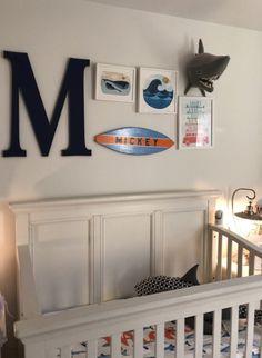 We love when gallery walls are a mix of art and decor pieces like in this nautical nursery. Coastal Nursery, Nautical Nursery, Nautical Baby, Nursery Drawings, Nursery Artwork, Nursery Inspiration, Nursery Ideas, Mermaid Wall Decals, Scandinavian Nursery