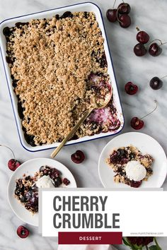 Get the most out of summer with this delicious Cherry Crumble recipe! A classic dessert with cherries as the star! Cherry Desserts, Cherry Recipes, Frozen Desserts, Summer Desserts, Cream Recipes, Classic Desserts, Great Desserts, Best Dessert Recipes, Delicious Desserts