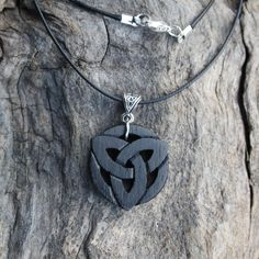Handcarved Irish Bog Oak Triquetra Necklace, 5000 Year Old Bog Oak Celtic Wood Pendant, Celtic Pagan Bog Oak Jewellery, Handmade in Ireland by Fretmajic on Etsy Celtic Necklace, Wood Necklace, Bone Jewelry, Jewelry Necklaces, Jewellery, Genuine Love, Trinity Knot, Irish Roots, Triquetra