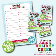 Free Holiday Printable - Random Acts of Holiday Cheer -The CreativiDee Workshop