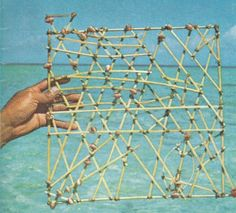 Marshall Islands stick charts were made  to navigate the Pacific Ocean by canoe. They show the waves and currents around the islands which are represented by shells.