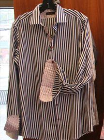 $198 Black and White Striped Button Down via boutiika.com