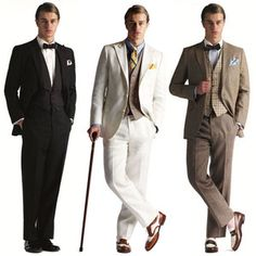 The great gatsby outfits. For the groom and the male guests. Great Gatsby Party Outfit, Gatsby Themed Party, Gatsby Wedding, The Great Gatsby, Mens Gatsby Outfit, Gatsby Dress Men, Gatsby Outfits For Men, Men Dress, Roaring 20s Fashion