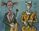 Bernard Buffet - né en 1928 - peintre expressionniste - Deux clowns musiciens