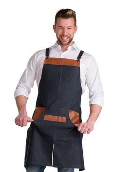Jean and Leather Apron – Denim Apron – Jean Apron by EmmanuelleShop on Etsy www…. Waiter Uniform, Apron Pattern Free, Jean Apron, Tool Apron, Restaurant Uniforms, Leather Apron, Aprons For Men, Sewing Aprons, Faux Leather Fabric