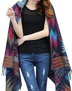 Women Bohemian Collar Plaid Cape Cloak Poncho Jacket Coat Shawl Scarf (Blue) Comprame@ http://www.amazon.com/dp/B0177OH3KG/ref=cm_sw_r_pi_dp_FTqaxb0CRJ7FQ