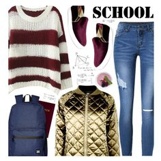 School by beebeely-look on Polyvore featuring moda, Boohoo, Herschel Supply Co., Zoku, BackToSchool, metallic, schoolstyle, sammydress and BoldStripes