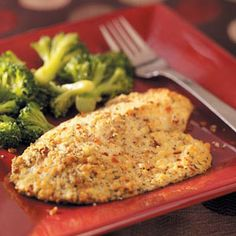 Red Pepper Parmesan Tilapia Recipe -My husband and I are always looking for light fish recipes because of their health benefits. This ones a hit with him, and weve tried it at dinner parties, too. Its a staple! —Michelle Martin, Durham, North Carolina Fish Dishes, Seafood Dishes, Seafood Recipes, Main Dishes, Dinner Recipes, Cooking Recipes, Healthy Recipes, Dinner Ideas, Healthy Meals