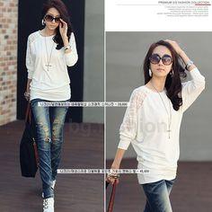 Sz s XXL Fashion Womens Batwing Top Dolman Lace Loose T Shirt Blouse Long Sleeve | eBay