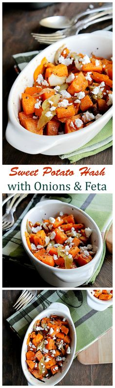 Warm and delicious sweet potato chunks tossed with a mixture of caramelized onions and feta cheese. A perfect side dish to any meal.