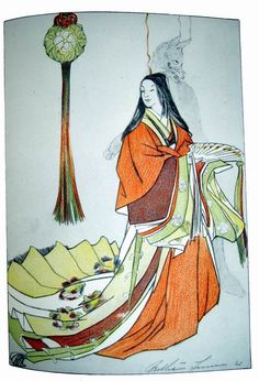 """The Jewel Maiden by Bertha Lum. A fox-woman. """"A woman of great beauty, one can tell that she is not human because of the little flame that is just above her head.  This particular fox-woman had conquered the heart of Mikado (the Emperor)"""""""