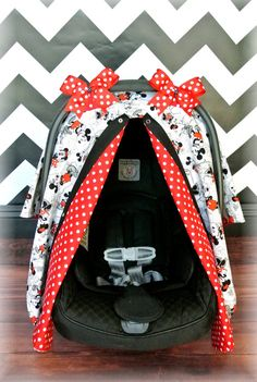 MICKEY MOUSE carseat canopy car seat cover by JaydenandOlivia. I absolutely LOVE this I might have to try to find this when I have kids! lol