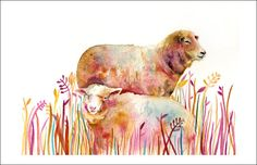Sheep Painting,Sheep art - Archival print of Original Watercolor Painting