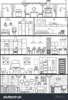 Illustration about 5 floors of house interior silhouette. Illustration of design, home, estate - 46598867 Drawing Room Interior Design, Interior Architecture Drawing, Concept Models Architecture, Interior Design Renderings, Flat Color Palette, Book Sculpture, House Drawing, Technical Drawing, Colorful Pictures