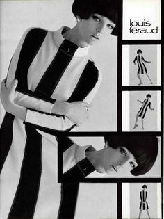 Louis Féraud 1960s mod black & white stripes