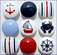 Hand Painted Knob Dresser Drawer Nautical by SweetPetitesBoutique, $6.50