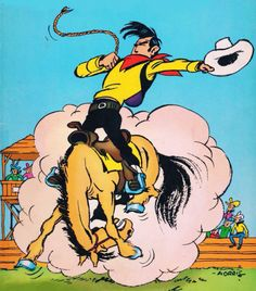 """""""Lucky Luke - art by Morris """" Bd Lucky Luke, Timeless Fashion, Cowboys, Character Inspiration, Westerns, Disney Characters, Fictional Characters, Comic Books, Animation"""