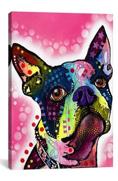 iCanvas 'Boston Terrier - Dean Russo' Giclée Print Canvas Art available at #Nordstrom