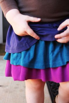 Upcycled t-shirt ruffle skirt. This would be handy for kids who grew out of their old tshirts and make for a cute play skirt.