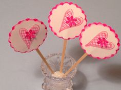 Cup Cake Toppers Valentine Goodies 12 Food Picks by StuffDepot, $2.50