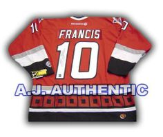 RON FRANCIS Carolina Hurricanes SIGNED Vintage CCM Hockey JERSEY . $398.05. This is an official licensed SIGNED Ron Francis Carolina Hurricanes jersey. The jersey is brand new with all of the lettering and numbering professionally sewn on. The player has beautifully signed the number. To protect your investment, a Certificate Of Authenticity and tamper evident hologram from A.J. Sports World is included with your purchase.