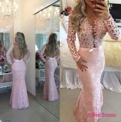 Lace Prom Dresses,Pink Prom Dress,Modest Prom Gown,A Line Prom Gown,Lace Evening Dress,Evening Gowns,New Fashion Party Gowns PD20183050