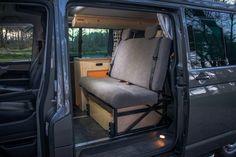 Cambee R&R bed on track. Incredible idea for space Van Conversion Layout, Cargo Van Conversion, Camper Van Conversion Diy, Sprinter Conversion, Vw Transporter Camper, Car Camper, Mini Camper, General Motors, Land Rover Defender
