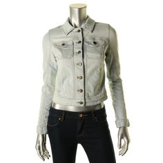 Guess Jeans Womens Denim Distressed Jean Jacket