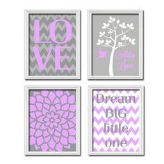 Custom Personalized Child Name Grey Purple LOVE Dream Tree Nursery Print Artwork Set of 4 Prints Girl Wall Decor Art Picture Chevron Flower. $45.00, via Etsy.
