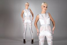 463237a615 Space Bride Catsuit White   Silver Hologram by LenaQuistDesign Bridal  Jumpsuit