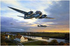 Flug Zum Absprungplatz by Mark Postlethwaite - Junkers 188s of I/KG6 transiting from Chièvres, Belgium to Münster-Handorf before their night bombing raid on London 15th October 1943, its first major operational sortie against the British mainland.
