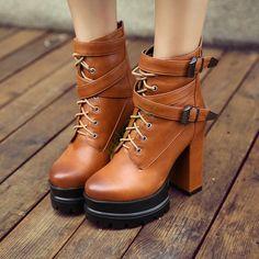 Us4-11 Womens High Heel Punk Dress Shoes Buckle Strap Lace Ups Platform Club Sz