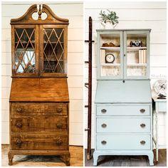 Painted Secretary Desks, Antique Secretary Desks, Painted Desks, Secretary Desk With Hutch, Recycled Furniture, Furniture Projects, Diy Furniture Flip, Desk Makeover, Furniture Makeover
