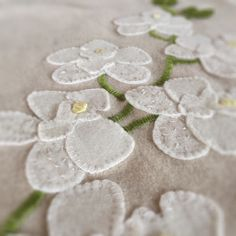 White moth orchid diy pure wool embroidery and applique kit from birdiebrown.co.nz #embroidery #applique Wool Embroidery, Wool Applique, Applique Cushions, Moth Orchid, Orchids, Challenge, Pure Products, Diy, Bricolage