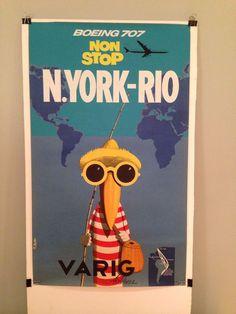 VARIG AIRLINES 1950'S ORIGINAL TRAVEL POSTER NEW YORK-RIO Boeing 707 #Vintage