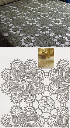 Discover thousands of images about Rectangular Crocheted Tablecloth Antique White Lace Table Runner Centerpiece Doily Cottage Chic Cottage Vintage Flower Motifs Crochet Tablecloth Pattern, Crochet Motif Patterns, Crochet Bedspread, Crochet Lace Edging, Crochet Diagram, Crochet Chart, Filet Crochet, Irish Crochet, Crochet Doilies
