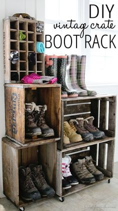 DIY vintage crate boot rack. http://hative.com/diy-ideas-with-milk-crates-or-wooden-crates/