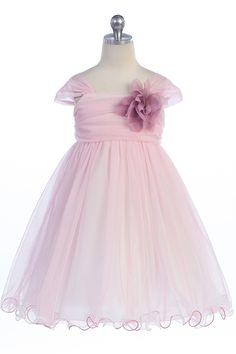 Rose Soft Tulle Layered Flower Girl Dress with Short Sleeves - K298-RS K298-RS $46.95 on www.GirlsDressLine.Com