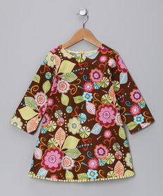 Take a look at this Brown Floral Pom-Pom Dress - Toddler by Jen Jen on #zulily today!