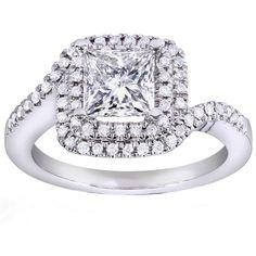 2.10 Carat GIA Certified 18k White Gold Princess Cut Diamond Engagement Ring
